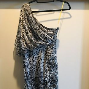 Off shoulder cheetah print Silk dress